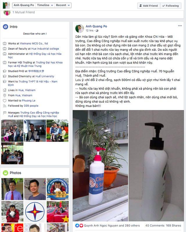 Trường Cao đẳng Công nghiệp Huế sản xuất và cung cấp nước rửa tay khô sát khuẩn miễn phí góp phần phòng chống virus Corona - Ảnh 3.